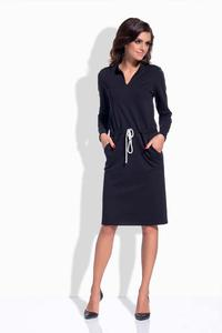 Black Shirt Collar Casual Midi Dress