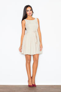 Pleated Belted Sleeveless Beige Dress with Seamed Top