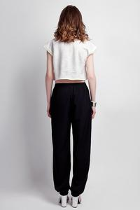 Black Wide Legs Pants with Drawstring Waist