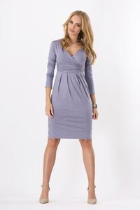 Steel Grey Elegant V- Neck Dress