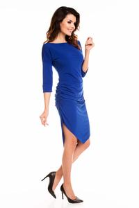 Cornflower Blue Asymetrical Wrinkled Dress