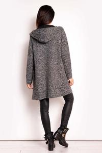 Dark Grey Hooded No Buttons Coat