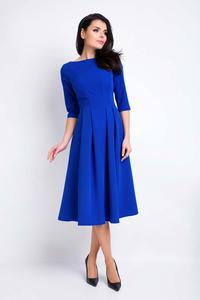 Blue Midi Formal Dress with Wide Bottom