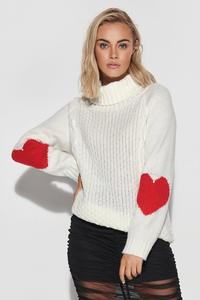 Turtleneck sweater with hearts on the sleeves - Ecru