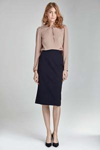 Dark Blue Pencil Midi Skirt