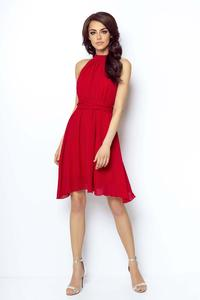 Red Airy Cocktail Dress with a Halter Neckline on the Stand-up Collar