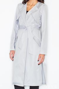 Grey Elegant Trench Coat with Self Tie Belt