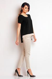 Black Classic Short Sleeves Blouse with Contrasting Pipping