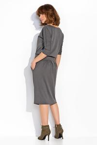 Dark Grey Slim Waist Casual Dress with Pockets