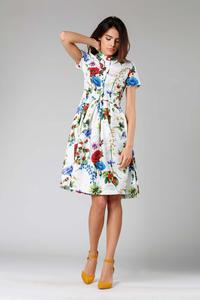 Colorful Flared short-sleeved Dress with Stand-up Collar