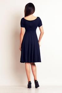 Dark Blue Light Pleats Midi Dress