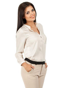 Light Beige Medici Collar Silky Feel Shirt