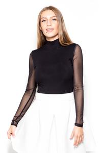 Black Bodysuit with Long Transparent Sleeves