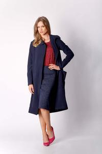 Navy Blue Envelope Coat with Large Pockets