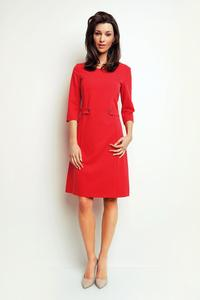 Red Simple Office Style 3/4 Sleeves Dress