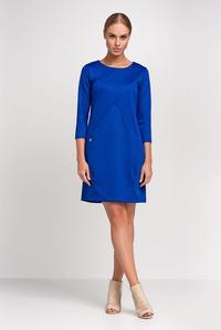 Blue Casual Mini Dress with Pockets
