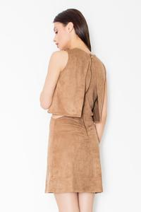 Brown Unique Cut Out Waist Mini Dress