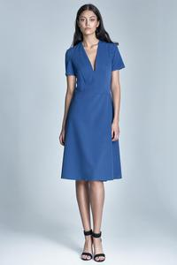 Blue V-Neckline Simple Midi Dress
