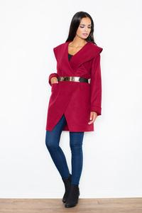 Maroon Big Collar Short Coat with Gold Belt