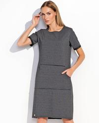 Dark Grey Casual Big Kangaroo Pocket Midi Dress