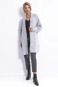 Long, unbuttoned sweater for women - Gray