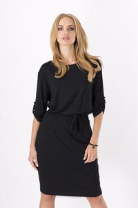Black Casual Self Tie Belt and Rolled-up Sleeves Dress