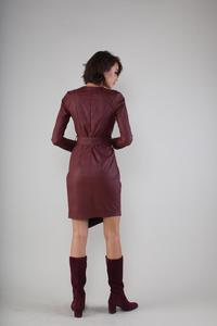 Asymmetric Mini Dress Maroon With V Neck