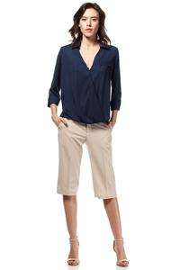 Dark Blue Stylish 3/4 Sleeves Shirt