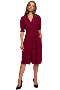 Maroon Belted Dress with Pockets