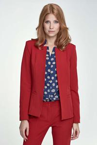 Red Elegant Stand-up Collar Ladies Blazer