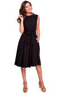 Black Flared Dress with Envelope Neckline on the Back