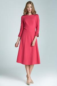"Pink Elegant Midi Dress with ""V"" Back"