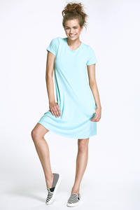 Lazur Blue Flared Mini Dress with Bow at The Back