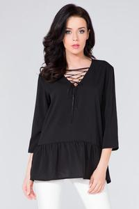 Black Frilled Lace-up Front Blouse
