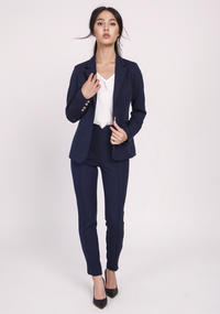 Navy Blue Classic Jacket Fastened with One Button