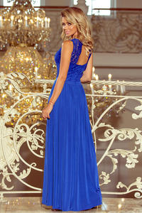 Blue Sleeveless Maxi Dress with Lace