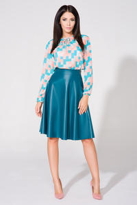 Sea Blue Flared Midi Eco-Leather Skirt