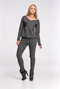 Dark Grey Fitted Ladies Jogger Pants
