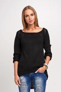 Black Casual Sweter with Longer Back