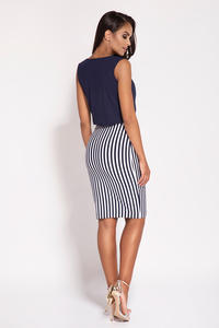 Navy Sleeveless Dress With Striped Skirt