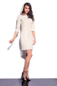 Beige Mini Hooded Dress