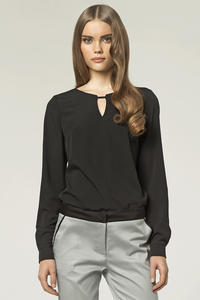 Stringed Keyhole Neckline Black Blouse with Long Sleeves