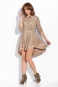 Beige Rolled-up Sleeves Shirts Style Dress