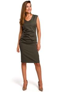 Khaki Fitted Sleeveless Dress with Draping Elements