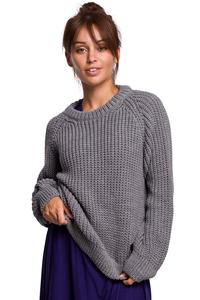 Classic Sweater with Neckline - Gray