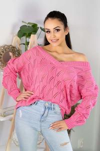 Openwork sweater with a V-neckline - Pink