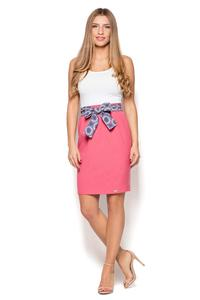Pink Pencil Knee Length SKirt with Sash
