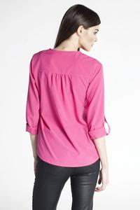 Amaranth Pink Rolled-up Sleeves Blouse