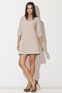 Beige Strapped Neckline Shift Dress with 3/4 Sleeves