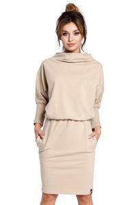 Beige Casual Dress with Wide Tourtleneck